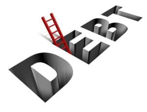 Ladder sticking out of the word DEBT