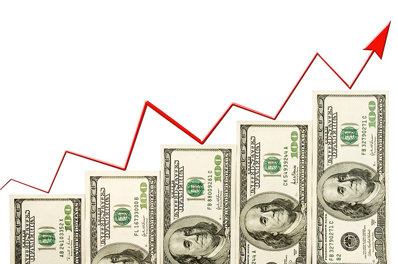 Building Wealth from nothing is represented by growing hundreds of Benjamins