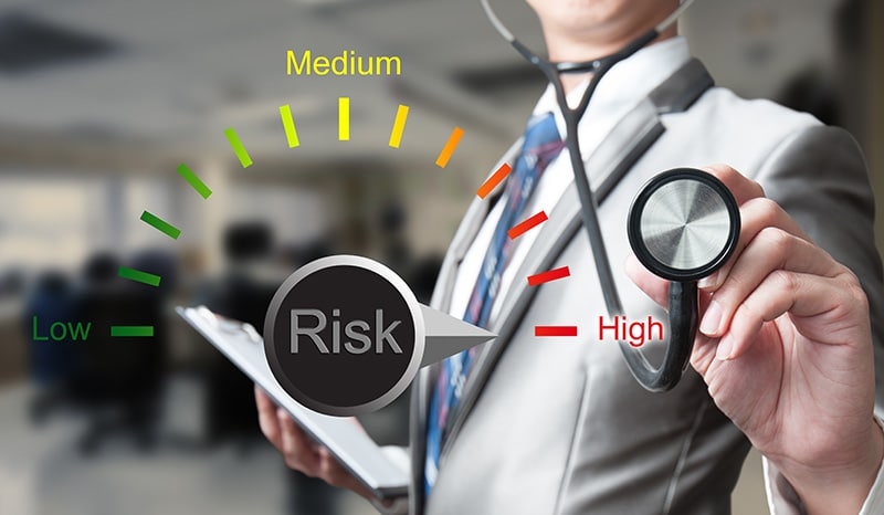 Return on investment depends on risk level. This shows the use of a stethoscope to measure risk.